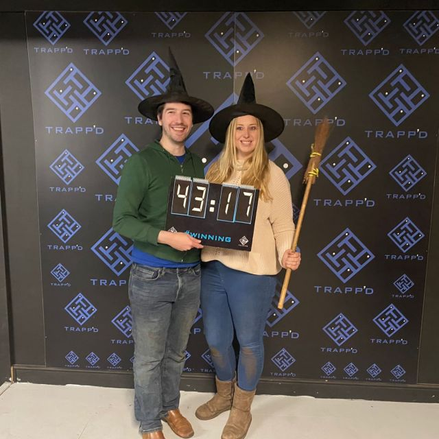 Big congratulations to Steven and Aimee today who have now completed all of our rooms!   You guys were a fantastic team and a pleasure to host through your escape room journey.   Here they are finishing in the speedy time of 43 minutes and 17 seconds in our spooky room of Salem in our Leeds branch!   Reckon you could beat their time? Find out by booking below!   https://trappd.com/book-now/